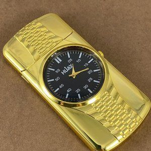 Accents - Gold Tone Watch USB Rechargeable Electric Lighter